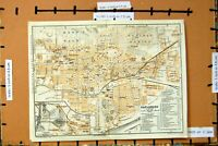 Original Old Vintage Print Map Germany 1925 Street Plan Karlsruhe Knielingen