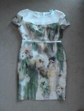 Designer Caroline Kilkenny Cream Green Watercolour Floral Lydia Dress Size16 NEW