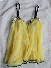Glydons Made in Hollywood USA Sexy Yellow w Black Trim Chiffon BabyDoll Nighty M