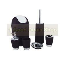 6pc Bathroom Accessory Set Tumbler Toilet Brush Lotion Soap Bin BLACK