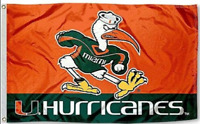 NEW Miami Hurricanes Flag Large 3'X5' University of Florida NCAA FREE SHIPPING!!