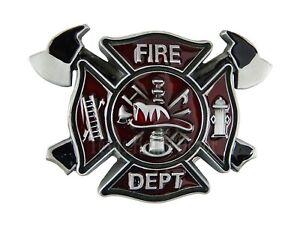 """Firefighter Men's Belt Buckle Silver Tone Fits 1.5"""" Belts Red Black Enamel"""