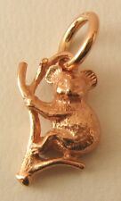 SOLID  9K  9ct ROSE GOLD 3D KOALA on BRANCH AUSTRALIAN ANIMAL Charm/Pendant