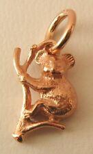 SOLID  9K  9ct ROSE GOLD 3D KOALA on BRANCH AUSTRALIAN ANIMAL Charm/Pendant