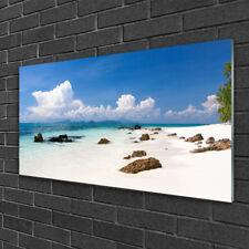 Wandbilder 100x50 Glasbild Druck auf Glas Strand Steine Landschaft