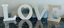 George Home Love Letters Decoration Glittery Silver.