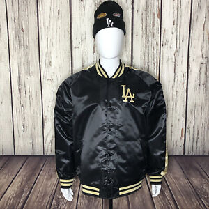 NWT Los Angeles Dodgers LA Mitchell & Ness MLB Satin Jacket Black Gold 2XL
