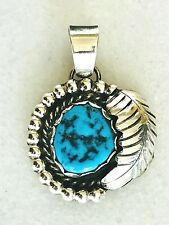 Sterling Silver Pendant #P140 Navajo Handcrafted Kingman Turquoise