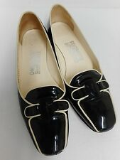 Salvatore Ferragamo black patent & white leather shoes 2cm heel US6.5 UK4.5
