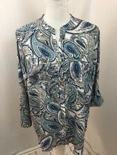 Charter Club Petite Top Ladies Geometric Design Turquoise White Tab Sleeve