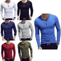 Herren Mode Langarm Sweatshirt Körper schlank Fit Rundhals T-Shirts Pullover