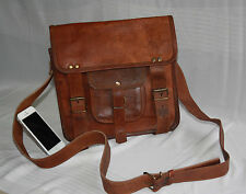 "Men Genuine Leather Cowhide Brown 11"" Crossbody Shoulder Satchel Messenger Bags"