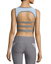 X BY GOTTEX Back Stripes Cut Out RUN Yoga SPORTS BRA Top Grey ( L )