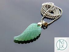 Aventurine Gemstone Angel Wing Pendant Necklace Natural Chakra Healing Stone