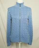 Ralph Lauren Womens Small Cable Knit Sweater Full Zip Cotton Blue LRL Active