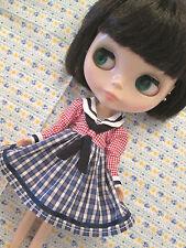 Blythe Doll Outfit Sailor Style Checks  Dress