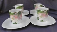 Block Pink Rhododendron Romance of Flowers Tea Cups & Saucer Langenthal HTF