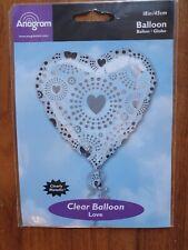 "CLEAR BALLOON LOVE HEART METALLIC SHIMMER XL HELIUM 18"" ANAGRAM"