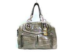 Auth COACH Madison embossed exotic Audrey 15260 GrayKhaki Leather Handbag