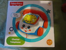 Fisher Price NEW chatter telephone box phone rotary dial ring bell string fun