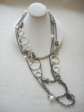"""RLM Studio Oxidized Sterling Pearl Agate Circles 60"""" Designer Necklace  3785"""