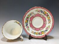 Vintage Fine Bone China Crown Staffordshire England Cup & Saucer Pink/Gold Band