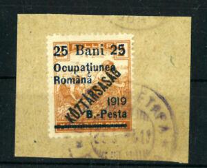 HUNGARY occupation  ROMANIA  1919  25 Bani  VF used  see 2  scan  (109)
