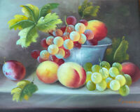 Still Life Art C. Freeman stretched oil painting On Canvas 8x10 Authentic Signed
