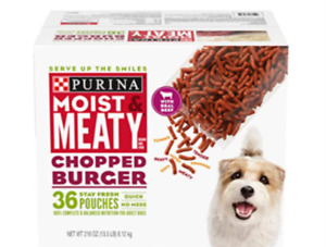Purina Moist & Meaty Adult Wet Dog Food, chopped Burger Flavor, 36 ct. Pouch