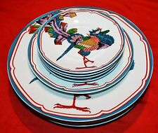 """GEORGES BRIARD FINE CHINA """"ORIENTAL PEACOCK""""  PLATES & SAUCERS - 9 Pc Set"""
