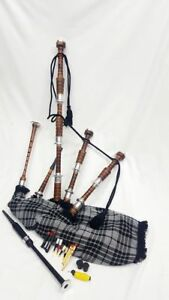 Great Highland Bagpipe Silver Mounts Polished Natural Rosewood Free Tutor Book