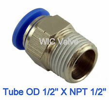 5pcs Male Straight Connector Tube OD 1/2 X NPT 1/2 Pneumatic Air Push In Fitting