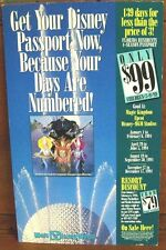 Authentic Disney Epcot Park Four-Season Pass Ticket Advertisement Sign 11x18in.