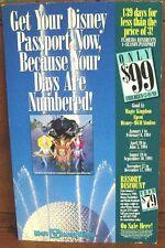 Authentic Disney Epcot Park Four-Season Pass Ticket Advertisement Sign 11x18in.