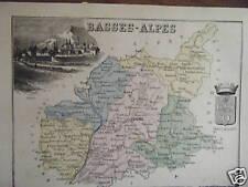 GRAVURE SUR BOIS EN COULEUR 1870 ex - BASSES ALPES  ALPES HAUTE PROVENCE