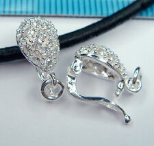 1x STERLING SILVER CZ CRYSTAL CHANGEABLE PENDANT CLASP SLIDER CONNECTOR #1306