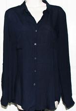 NEW Ambiance Apparel Women's Long Sleeve Button down Light Blouse Shirt Blue M