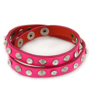 Neon Pink Leather Style Crystal and Spike Studded Wrap Bracelet - Adjustable