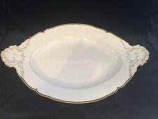 Antique German Huge KPM White Porcelain w/Gold & Navy Rim Oval Serving Platter