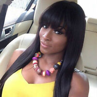 Straight Lace Front Human Hair Wigs With Full Bangs Glueless Lace Virgin Hair