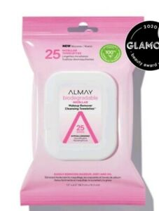 Almay Biodegradable Micellar Makeup Remover Cleansing Towelettes 25 Wipes NEW