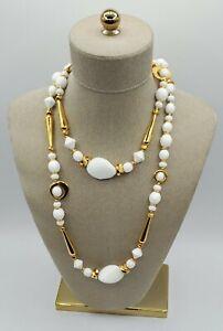 "Jose & Maria Barrera White Glass Stone with Gold Design 39"" Long Necklace"