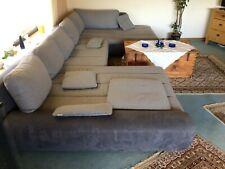 Wohnlandschaft U-Form Textil Grau / 170x390x190 cm Sofa Couch