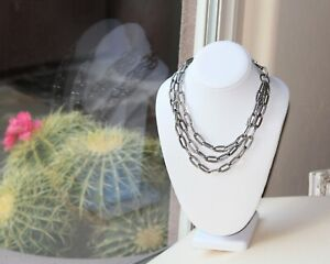 Textured Silver Link Triple Strand Necklace. Bold
