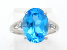 Round Diamond Right Hand Ring 6.11ct 10k White Gold Oval Topaz and