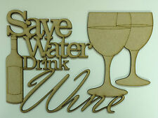"""Salva acqua bere vino"" in MDF bianco"