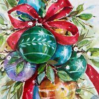 Vintage Mid Century Christmas Greeting Card Shiny Ornaments Ribbon Bow Teal Gold