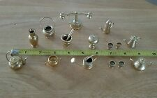 Solid Brass 18 Piece Dollhouse Miniatures