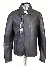 Emporio Armani Ribbed Panel Biker Leather Jacket Grey EU56 XXL RRP £1295 coat