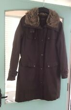 Principles Womens Parka Style Coat With Faux Fur Collar U.K.size 18 Brown
